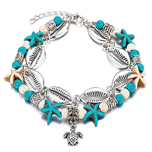Bohemian Two Layers Alloy Shell Beads Chain Anklet Vintage Turquoise Stone Turtle Charm Ankle Bracelets Foot Jewelry ()