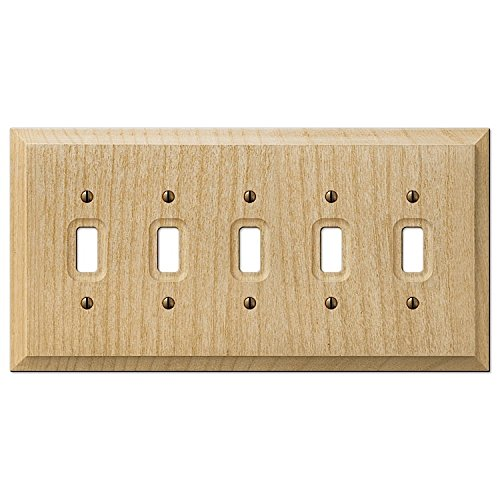 Alder Wood Unfinished 5-Gang Toggle Switch Plate
