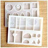 Arts & Crafts : Hibery 2 Pack Resin Casting Molds, Silicone Resin Jewelry Molds Making with Hanging Hole for DIY Jewelry Craft Making
