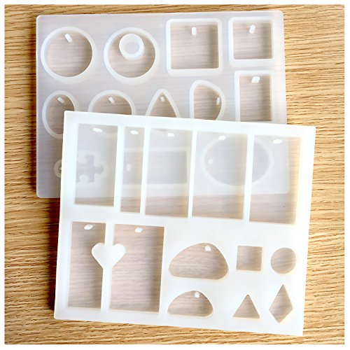 Hibery 2 Pack Resin Casting Molds, Silicone Resin Jewelry Molds Making with Hanging Hole for DIY Jewelry Craft Making