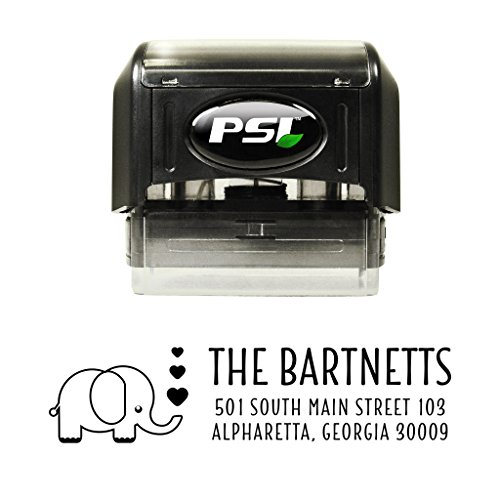 Elephant with Hearts Self Inking Return Address Stamp, Custom Stamper with Black Ink