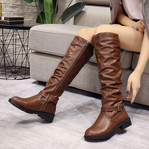 Bottes Bout Sur Sexy Brown Martin Fermeture Dames Pour Cuir Glissire Rond En Avec Booties Femmes Genou Kobay Le r7rYxTv