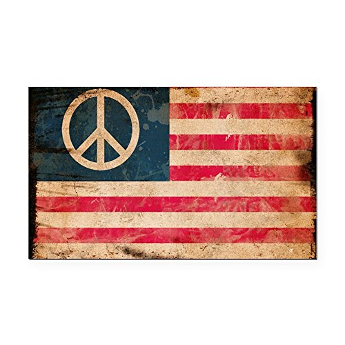 Rectangle Car Magnet Worn US Flag with Peace Symbol Sign -