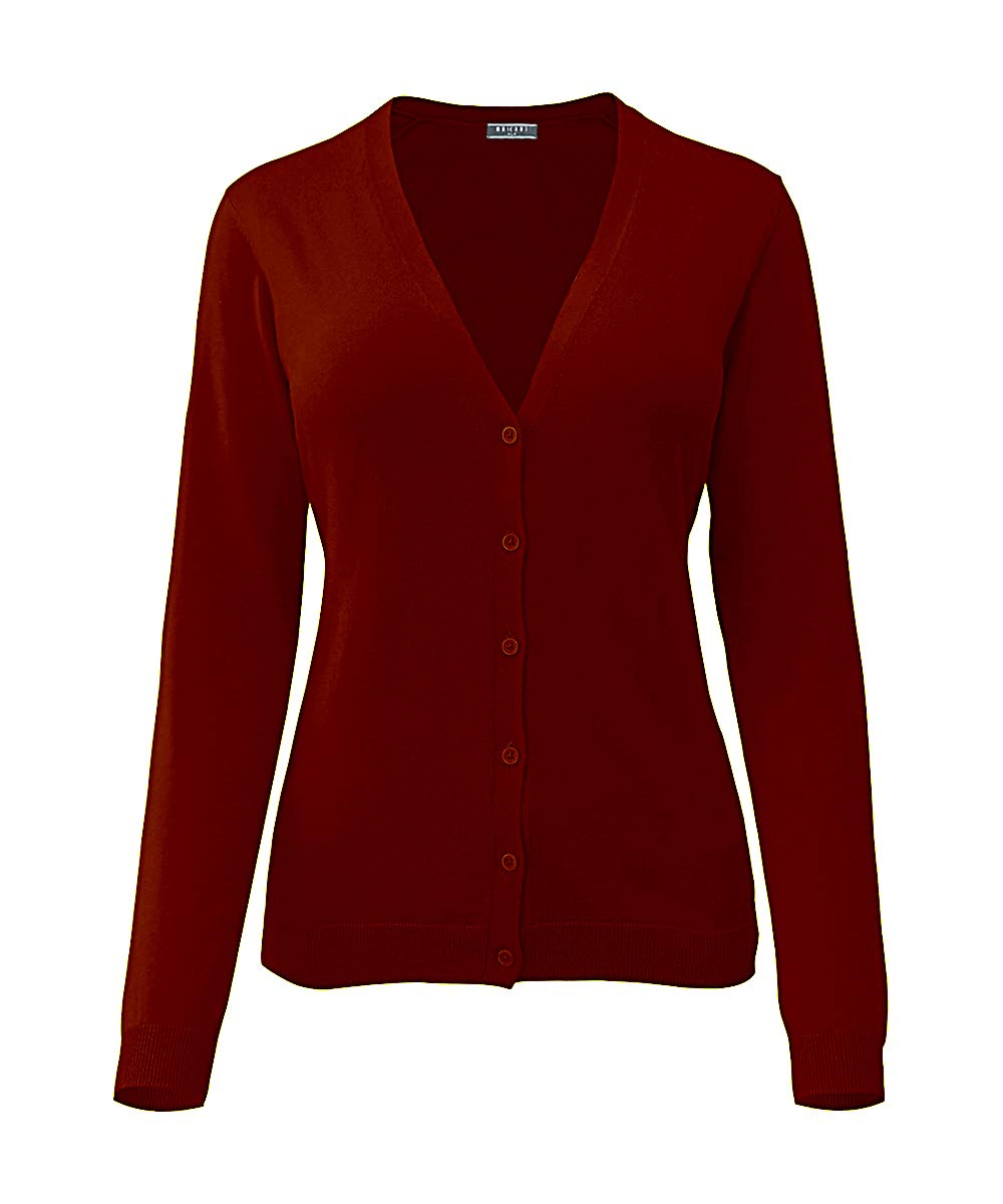 MAÏ CHUS Maichus Women's V-Neck Button Down Long Sleeve Soft Knit Cardigan Sweater Wine Red S