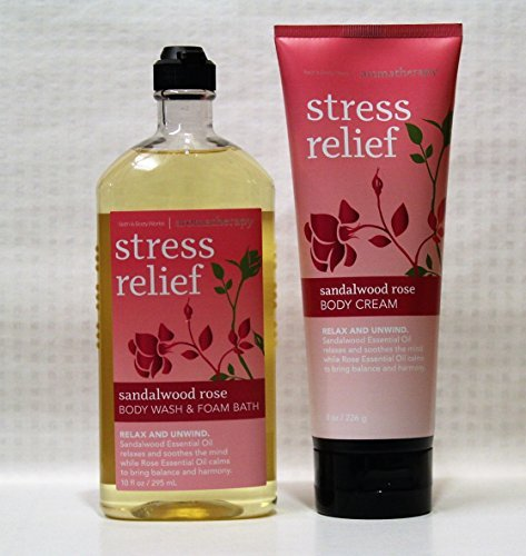 Price comparison product image Bath & Body Works - Aromatherapy - Promotes Stress Relief- Sandalwood Rose - Body Wash & Foam Bath & Body Cream – Bundle