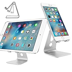 iClever Desktop Cell Phone Stand, Portable Aluminum SmartPhone Holder with Adjustable Viewing Angle, for iPhone 7 / 7 Plus / 6 / 6s etc, E-reader and more, Silver