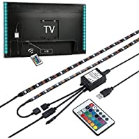 Mutiwin Bias Lighting for HDTV USB Powered TV Backlighting, Home Theater Accent lighting Kit With Remote Control,2 RGB Multi Color Led Light Strip (Reduce eye fatigue and increase image clarity)