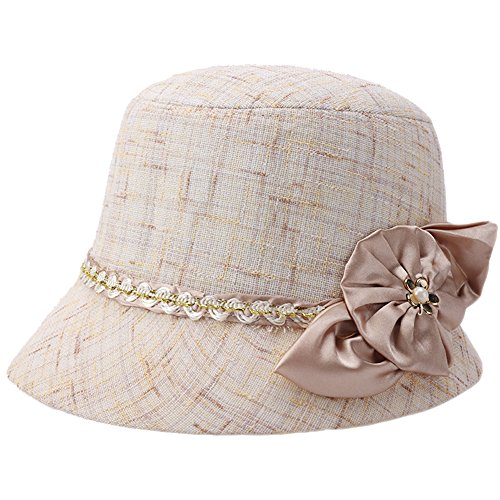 Womens Summer Beach Linen Flax Cloche Sun Travel Folding Bucket Boonie Top Hat
