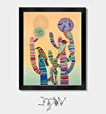 Sonoran Sunset - Cactus Art, Arizona, Tucson, Phoenix, Mexico, Mexican, Cactus Print, Mexican Folk, Folk Art, Southwest, Colorful Art, Birds