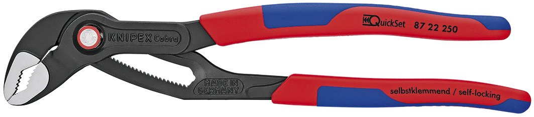 Knipex 87 22 250 SBA 10'' Cobra Quickset Hightech Water Pump Pliers-Comfort Grip, by KNIPEX Tools