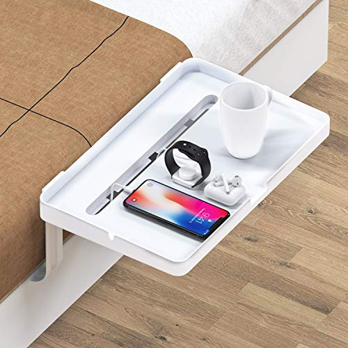 Bedside Shelf - Bedside Phone Stand with Cable Management, Versatile Use as Snack Bedside Table, Tablet Holder, Easy Assemble Organizer for USB Cable, Earphone and Tissue, for Home & Travel by HUANUO