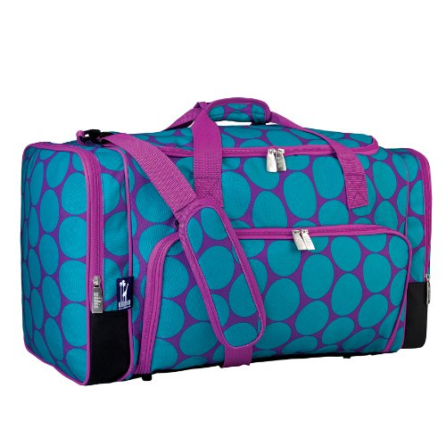 Wildkin Weekender Duffel Bag, Features Removable Shoulder Strap and Moisture-Resistant Lining, Carry-On Size, Perfect for Sleepovers, Sports Practice, and Travel – Big Dots Aqua - Duffel Bag Kids Luggage
