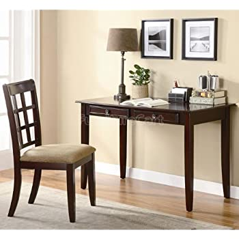 2pc Home Office Writing Desk And Chair In Brown Finish