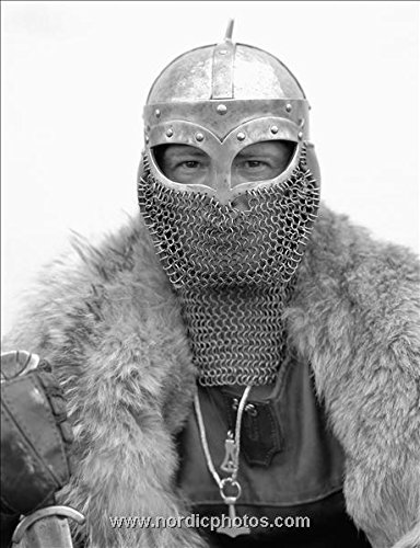 Portrait of a man wearing a Viking helmet and a fur coat, Iceland 30x40 photo reprint by PickYourImage