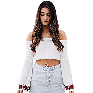 Challyhope Womens Fashion Sexy Flower Rose Print Off Shoulde Flare Sleeve Blouse Tops