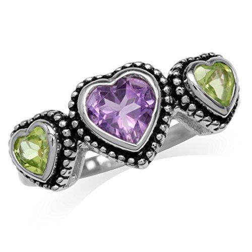 Amethyst Peridot Ring (Natural Heart Shape Amethyst & Peridot 925 Sterling Silver Bali/Balinese Style Ring Size 10)