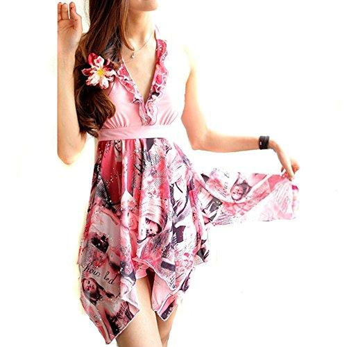 Forlisea Womens Plus Size Halter Tankini Swimwear Swimsuit 2 Pieces US 3XL/Asian 6XL Pink