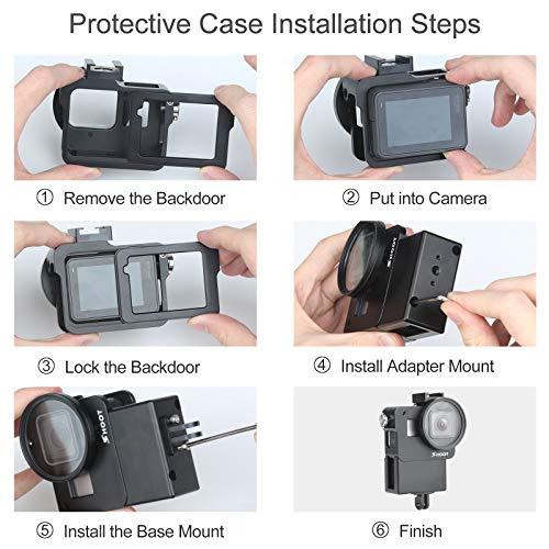 LICHIFIT V2 Vlog Protective Case Housing Shell Box with Cold Shoe Mount for GoPro Hero 7//6//5 Action Camera Microphone Adapter Vlogging Cage Frame Accessory