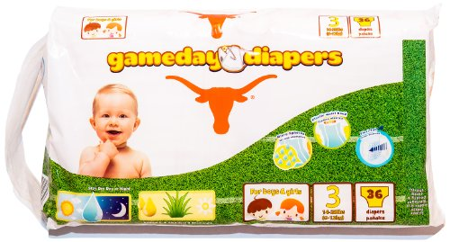 Gameday Diapers, texas longhorns, size 3, case, 144 count