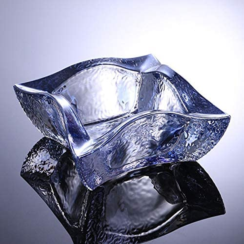 CQ ガラス灰皿ベッドルームホテルのパーソナリティクリスタルオフィスデスクトップガラスの灰皿オーガナイザー (Color : Blue)