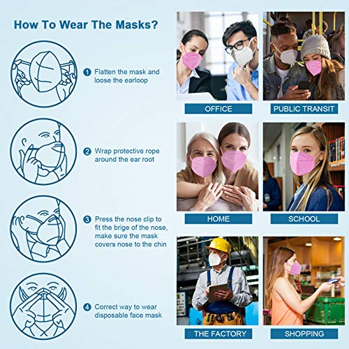 KN95 Face Mask 20Pcs, Included on FDA EUA List, 5 Layer Design Cup Dust Safety Masks, Breathable Protection Masks Against PM2.5 Dust Bulk for Adult, Men, Women, Indoor, Outdoor Use, Pink
