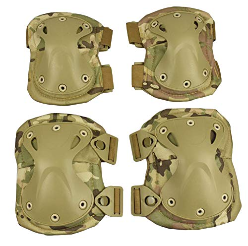 (Tactical Combat Knee & Elbow Protective Pads Cycling Roller Skating Knee Elbow Pads for Outdoor Sports Hunting CS Paintball Game Skate & Skateboarding(multicam) )