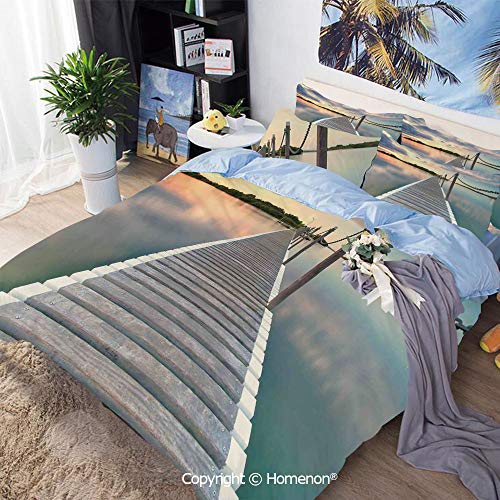 Homenon 3 Piece Set Microfiber Fabric,Pontoon Jetty Pier Deck Across The Water at Dramatic Sunset with Idyllic View,Queen Size,for Bedroom Guest Room,Aqua Grey Peach