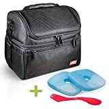 EZLY Insulated Lunch Bag Box Black – Cooler Adults Men Boys Women