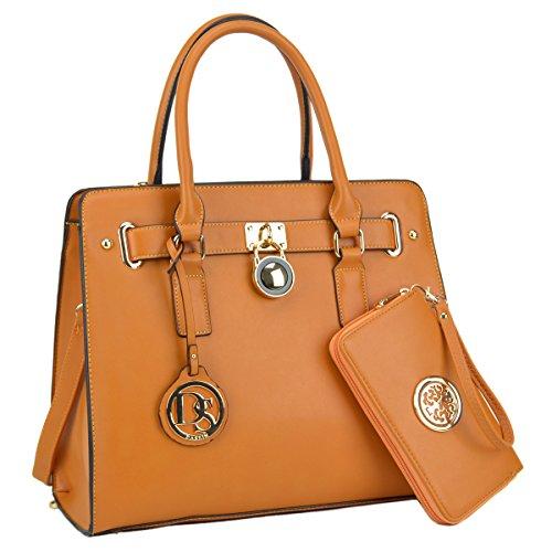 DASEIN Fashion Top Belted Tote Satchel Designer Padlock Handbag Shoulder Bag for Women