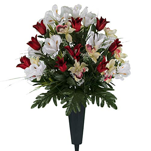 Sympathy Silks Artificial Cemetery Flowers - Realistic Vibrant Tulips, Outdoor Grave Decorations - Non-Bleed Colors, and Easy Fit - Red White Tulip Bouquet with Cemetery ()