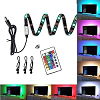 LED TV Backlight, 78.7 inch ( 2M ) 16 Colors and 4 Dynamic Modes TV Background Lighting Strip with Mini Remote Control for 40 inch-60 inch TV ( Black )