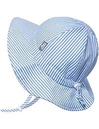 Girls Wide Brim UV Protection Cotton Sun-Hat, Adjustable Strap, for Baby, Toddler, Kids