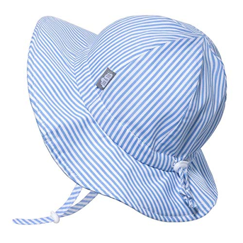 JAN & JUL Baby Boy Cotton Sun Hat 50 UPF, Adjustable Good Fit, Stay-on Tie (S: 0-6m, Blue Stripes)