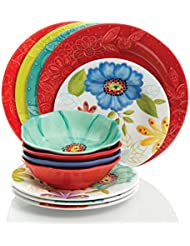 studio california by laurie gates 12 piece flora heavy weight melamine dinnerware set break scratch and chip resistant - Melamine Dishes