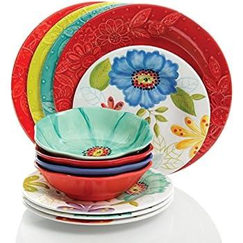 Studio California by Laurie Gates 12 Piece Flora Heavy Weight Melamine Dinnerware Set - Break  sc 1 st  Amazon.com & Amazon.com: DeBell 16 Piece Melamine Dinnerware set Dinner Plates ...