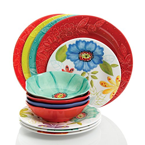 Studio California by Laurie Gates 12 Piece Flora Heavy Weight Melamine Dinnerware Set - Break, Scratch and Chip Resistant