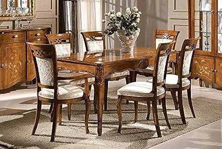 Sala Da Pranzo Completa Stile Classico 100 Made In Italy Sf17 Amazon It Casa E Cucina