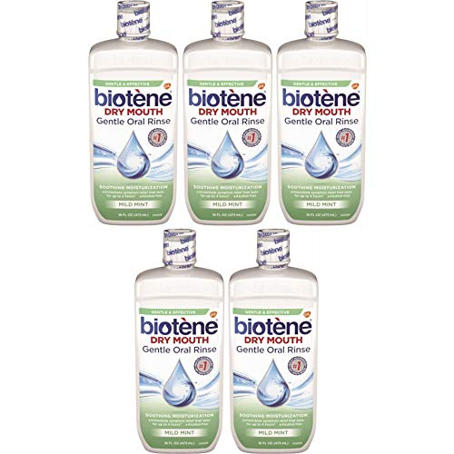 Biotene Dry Mouth Gentle Oral Rinse, Mild Mint, 16 Ounces each (Value Pack of 5) -  GSK