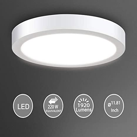 Flush Mount Led Ceiling Light Fixture 24w Soft Daylight Flat Round Surface Mounted Downlight Lamp Lighting For Closet Bedroom Dining Room Kitchen Kids