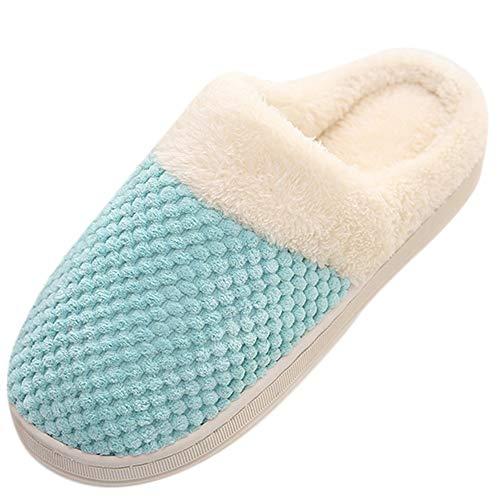 Women Memory Foam Slippers Men Slip-on House Shoes Indoor Outdoor Anti-Skid Pressure Relief Comfortable & Washable (Mint Green-Women, US 6-6.5)