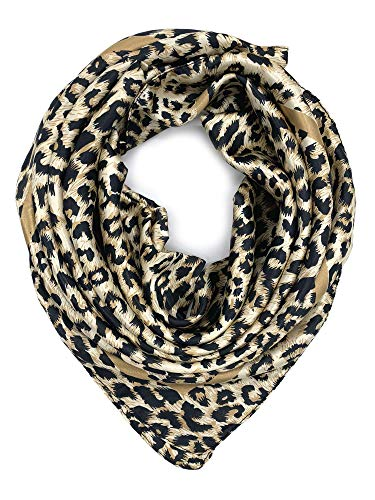 (YOUR SMILE Silk Like Leopard Print Scarf Women's Fashion Pattern Large Square Satin Headscarf Head Dress (208) )