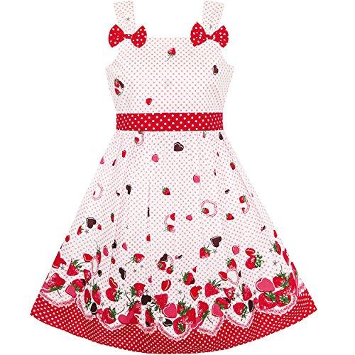 Ensoleillées Filles De Mode Robe Bleu Coccinelle Taille Des Points De Vêtements Pour Enfants Rose Rouge 2-8 Ans