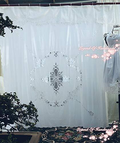 FidgetGear Vintage Style Battenburg Lace Shower Curtain~Pure Cotton~White~72
