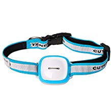 GPS Pet Tracker, IP66 Waterproof Anti-Lost Dog Collar Pet Locator, Multi-mode positioning GPS+ Wifi + GPRS + LBS Location with LED Flashing Light for IOS and Andriod(Blue)