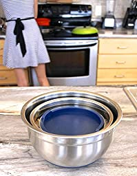 Fitzroy and Fox 3 Piece Stainless Steel Mixing Bowl Set with Lids, Non Slip Silicone Bottoms, and Volume Measurements (Blue)