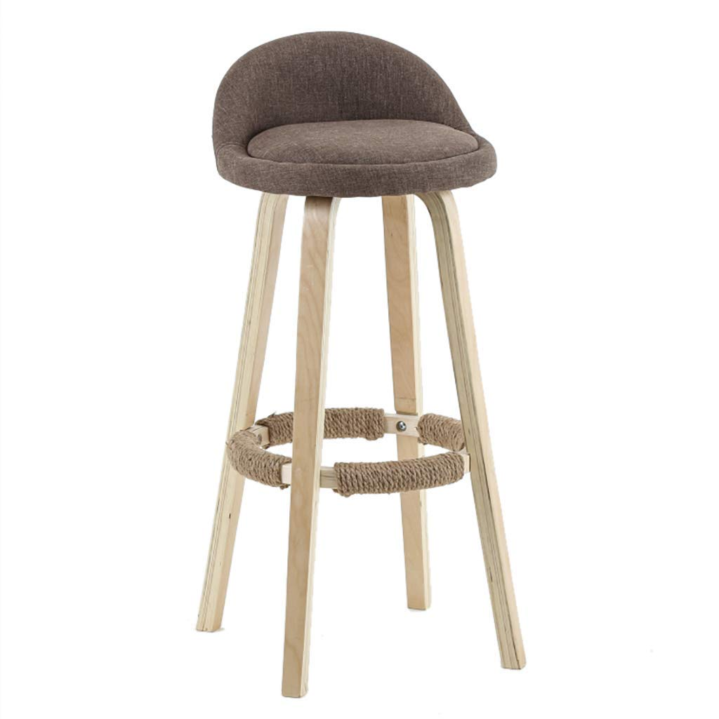 Brown 60cm Solid Wood Bar Stool, Simple Backrest High Stool, High Rebound Sponge Filling + Fabric Leather Cushion, for Kitchen   Breakfast   Counter   Conservatory   Café   Pub