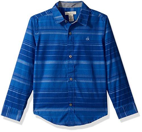 Calvin Klein Little Boys' Interfuse Horizontal Stripe Long Sleeve Shirt, Royal, 7 Royal Blue Five Stripe