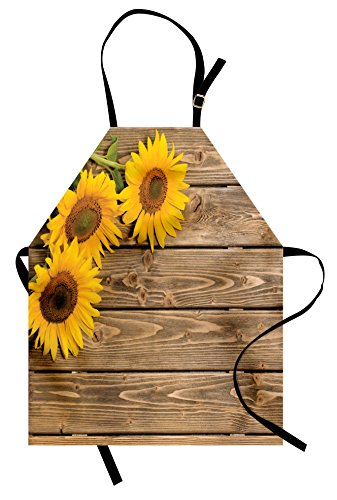 Lunarable Sunflower Apron, Three Sunflowers on Wooden Background at Top Left Corner Picture Print, Unisex Kitchen Bib Apron with Adjustable Neck for Cooking Baking Gardening, Umber Earth Yellow (Earth Day Apron)