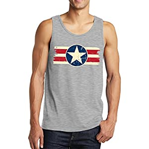 Vintage USA Emblem Men's Tank Top, SpiritForged Apparel, Light Gray Large