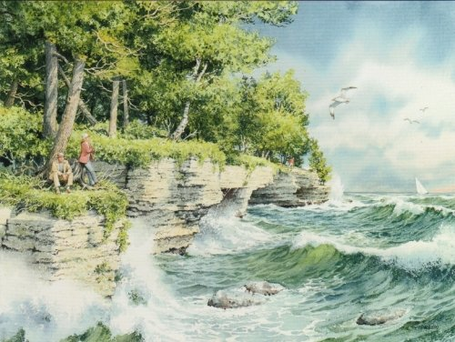 - Charles Peterson - A Windy Tuesday at Cave Point Giclee on Watercolor Paper